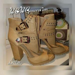 BCBGeneration Tan Stud block Heel Booties Boots